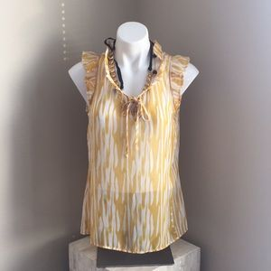 Bobeau sheer keyhole yellow and white blouse